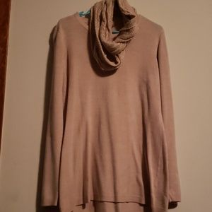 Champagne sweater with infinity scarf